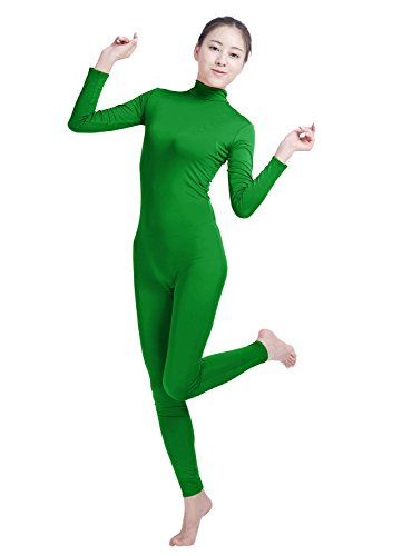 70's Kostüm Workout Mädchen - Shiningstar Mädchen Damen Well-Fit Rollkragen Spandex Langarm Reißverschluss hinten Fußlos Unitard - Grün - X-Large