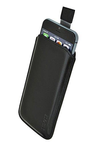 Original Suncase Leder Etui für iPhone 8 / iPhone 7 / iPhone 6s / iPhone 6 (4.7 Zoll) Ultra Slim Tasche Handytasche Ledertasche Schutzhülle Case Hülle (Mit Rückzuglasche) Schwarz Iphone Tasche