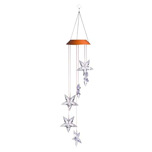 LED Solar Windspiel - bunte Solar-Stern Muster Windspiel Garten Dekoration Äolische Glocken Outdoor Lichter für Zuhause Party Dekoration Garten Hängende Ornament