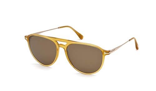Tom Ford Männer FT0587 Carlo-02 Sonnenbrille w/braun Objektiv 39J TF587 glänzend Gelb groß