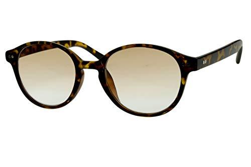 Lesebrillen mit Sonnenschutz Damen Herren beige schwarz gepunktet (Safari-look) rund glänzend getönt als Sonnenbrille leicht modern schmal Kunststoff 1.0 1.5 2.0 2.5 3.0, Dioptrien:Dioptrien 2.5