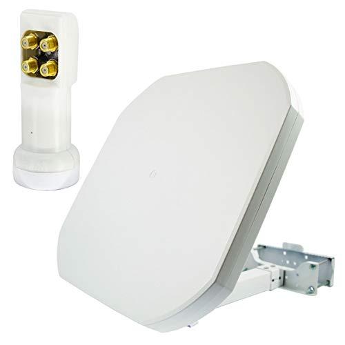 PremiumX FLAT43 Sat Flachantenne mit Quad LNB PXV-QS - Satellitenanlage für 4 Teilnehmer - 4K UHD FullHD HD