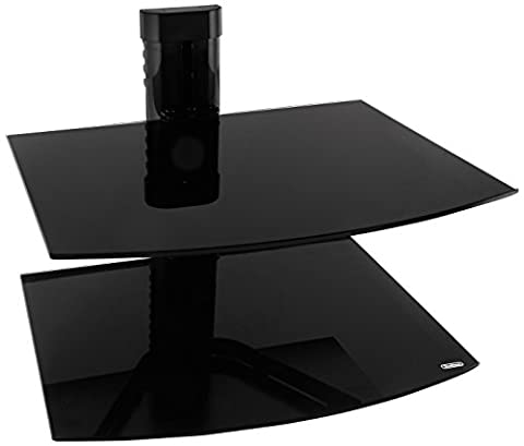 VonHaus 2x Black Floating Shelf with Strengthened Tempered Glass for DVD Players/Cable Boxes/Games Consoles/TV
