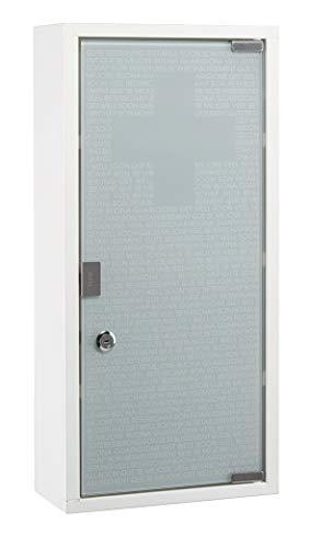 Medizinschrank weiß Glas 27x12x57 cm Badschrank Apothekerschrank Glasschrank -