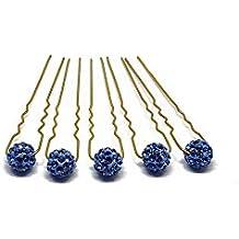 5 horquillas con esferas de piedras - Decoración para peinados de novia - Horquilla dorada - Azul