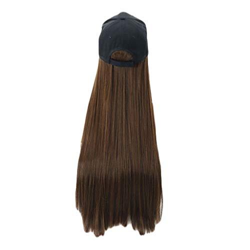JINLILE Frauen KüNstlich Haarteile PerüCke Lange Gerade PerüCke Kappe Langes Haar Baseball Cap Ball Caps Casual Hut PerüCke 30 Zoll