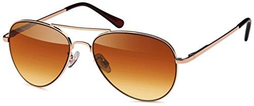 Feinzwirn Sonnenbrille Pilotenbrille inkl. Brillenbeutel aus Microfaser für das schmale Gesicht und Köpfe