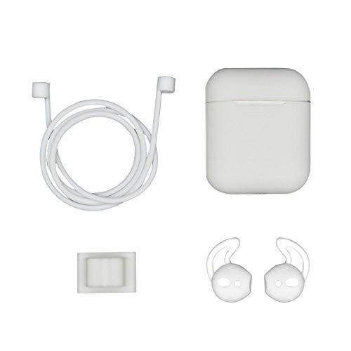 Teepao Custodia per Cuffie per Apple Airpods Custodia in Silicone Portatile Custodia Impermeabile Custodia Antiscivolo per Auricolari in Silicone -Bianco