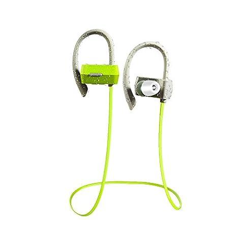 Tritina Bluetooth Kopfhörer mit MIC - Stereo Sport Kopfhörer + Memory Foam Earbuds Sweatproof Kopfhörer zum Laufen, Joggen, mit Noise Isolating Music --- (Grün)