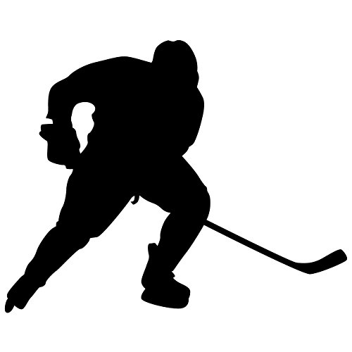 Hockey Wand Aufkleber Aufkleber 24–Aufkleber Aufkleber und Wandbild für Kinder Jungen Mädchen- und Schlafzimmer. Sport Art Wand für Home Decor und Dekoration–Ice Hockey Player Silhouette Wandbild, Vinyl, schwarz, 36 in. (36'W x 28.7'H)
