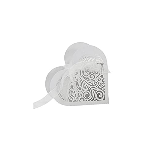 Pack of 20Pcs Love Heart Laser Cut Hollow Candy Gift Box with Ribbons Wedding Party Favor - White, As