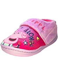 c92508a980b Peppa Pig Girls Pink and Violet Touch Fastening Slippers