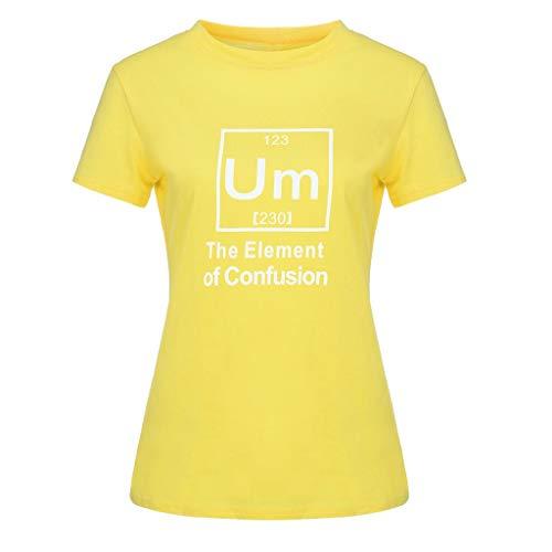 Überprüfen Sie Die Druck-polo (Performance Polo Shirt atmungsaktiv Shirt atmungsaktiv, Mode WomensO-Neck Kurzarm-Taschensack Plus Size Cotton Tee Casual Top, Gelb, 2XL)