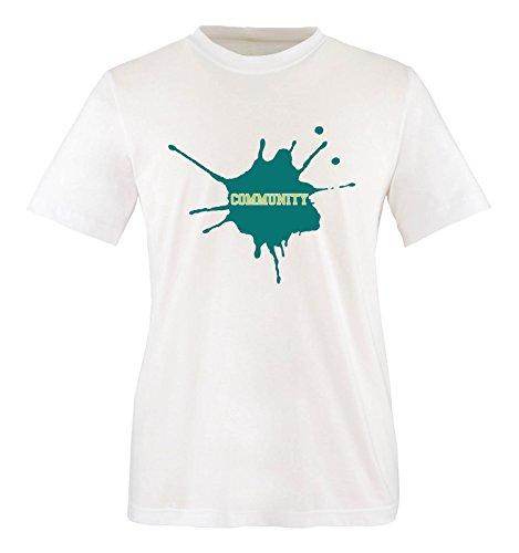 Comedy-Shirts Community - Herren T-Shirt - Weiss/Türkis-Hellgrün Gr. S