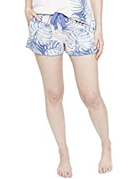 Cyberjammies 4103 Womens Isla White Leaf Print Pyjama Short
