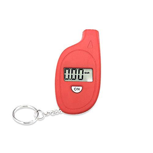 Mein HERZ 35PSI Manometro Pressione Gomme Digitale Portatile, Mini manometro per Pneumatici, 4 modalità, per Auto/Moto/Bici, con Portachiavi (Rosso)