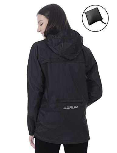 EZRUN Damen Wasserdichte Kapuzenjacke Windbreaker leicht verstaubar Regenmantel Pullover Outdoor Regenjacke für Frauen mit Reißverschlusstasche, Damen, schwarz, Large