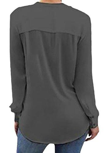 erdbeerloft - Damen Langarm Bluse mit V-Ausschnitt, XS-2XL, Viele Farben Grau