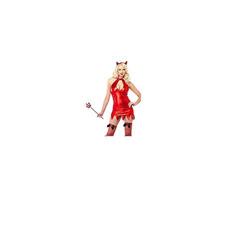 Red Shiny Teufel Leder Kostüm Eine Größe 8 10 (Teufel Kostüm Leder Rote)