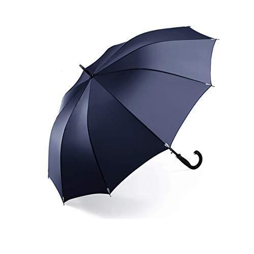 Ombrello semi-automatico oversized reinforced gentleman retro extra large coppia di tre persone con doppio manico lungo (colore : blu, dimensioni : 132x105cm)