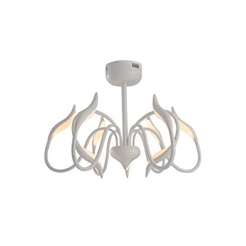 LED Deckenleuchte, einfache Postmoderne Acryl Schwan Deckenleuchte, Nordic kreative Persönlichkeit Schlafzimmer Restaurant Schmiedeeisen Kronleuchter, weiß YDYG (Größe : 9HEADS) - Weiß Schmiedeeisen Kronleuchter