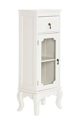 Premier housewares marcella - armadietto con cassetto e anta in vetro, colore: avorio