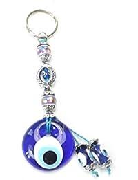 Llavero, para mal de ojo Nazar Boncuk, diseño de flores, color plata, azul y lila
