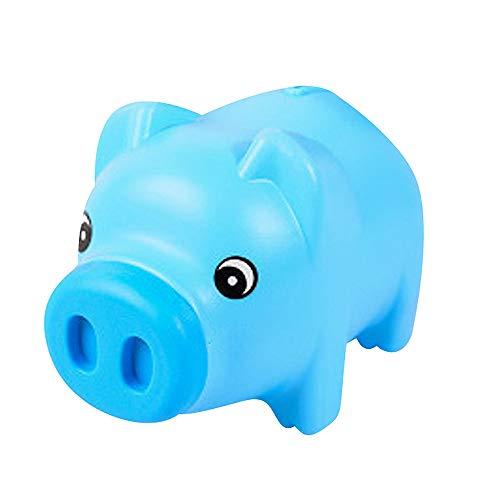 NPRADLA Hucha Piggy Bank Niño Caja de dineroNiño Juguete Ahorro de Monedas Efectivo Diversión Regalo Plástico Cerdo Estudiante Seguro Niño Transparente (Azul Cielo, 21 x 13 x 12cm.)