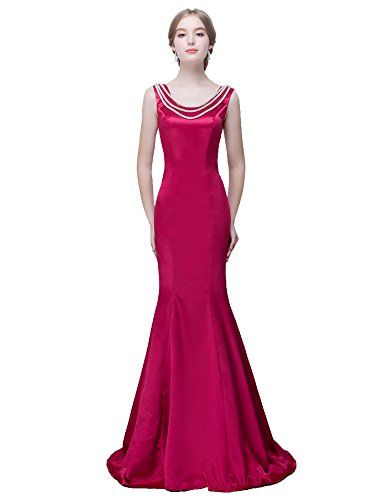 Beauty-Emily -  Vestito  - halterneck - Collo a U  - Senza maniche  - Donna Rose Red