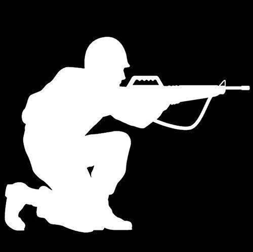 XINSU Waffe Auto Aufkleber Auto Feld Militär Enthusiasten M-16 Pistolen reflektierende Aufkleber Feuerwaffen E Familie (Color : White) (Militär-auto-magneten)