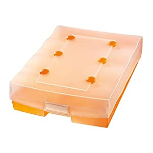 HAN 9987-613, CROCO-DUO archive box, for 2,200 cards A8 withA-Z guide cards dividers and 8 support plates, translucent orange