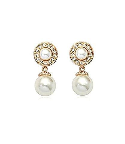 Boucles d'oreilles perle Boucles d'oreilles plaqué or cristal Swarovski Elements