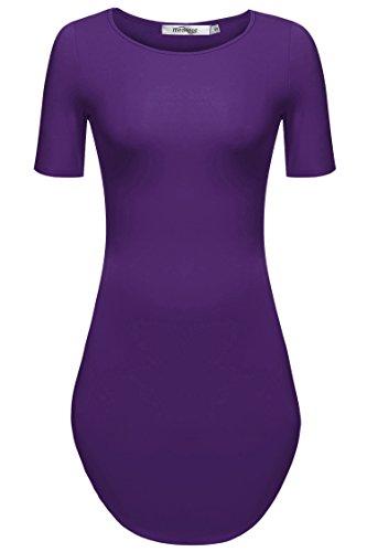 Meaneor Damen Lang Tunika Kurzarm Kleid Longshirt Herbst Bluse Sexy Minikleid O-Ausschnitt Stretch T-Shirt (EU 36(Herstellergröße: S), Lila) - Mit T-shirt-kleid Schlitzen