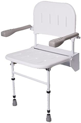 NRS Healthcare Wall Mounted Folding Shower Seat M53370 - with Legs, Back & Arms (Eligible for VAT relief in the UK)
