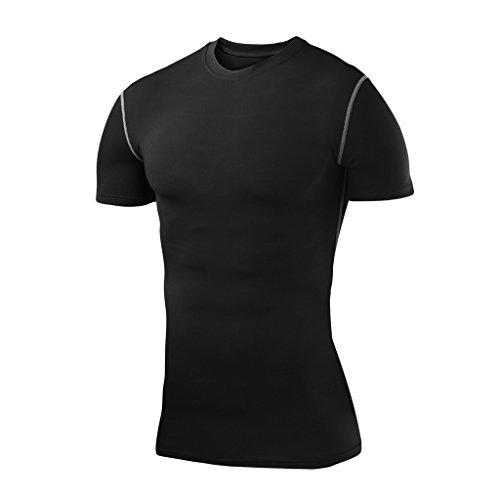 Herren Kind PowerLayer Funktionsunterwäsche Kompressionsshirt Kurzärmelig Armour Compression Top Skins Kurzarm - Large Boy - Black