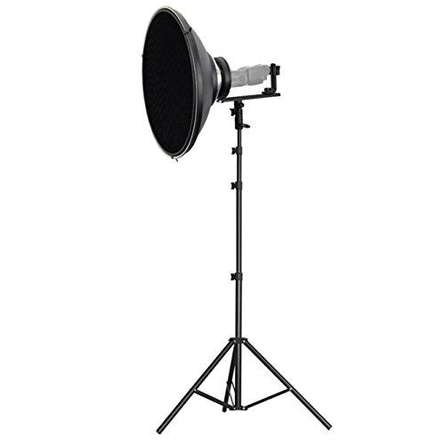 METTLE Systemblitz-Halter Set XT 3 mit Beauty Dish 42 cm, Wabe, Stativ 240 cm