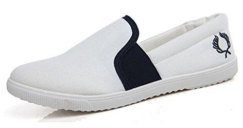 Minetom Donne Ragazze Slip-On Tela Scarpe Moda Morbido Espadrillas Traspirante Basso In Alto Scarpe Bianco 39