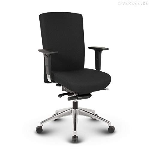 VERSEE Profi Bürostuhl Konferenzstuhl - Terox - Stoff - schwarz - Drehstuhl, Bürodrehstuhl, Schreibtischstuhl, Ergonomisch, hochwertige Verarbeitung, 150 kg belastbar