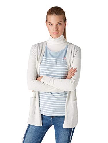 TOM TAILOR Denim für Frauen T-Shirts/Tops Jersey-Cardigan Marble Beige Melange, M (Womens Cozy Cardigan)