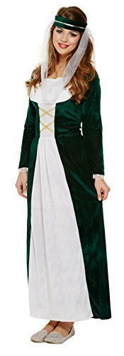 Costume per travestimento, vestito storico medievale da dama di compagnia Green Taglia unica