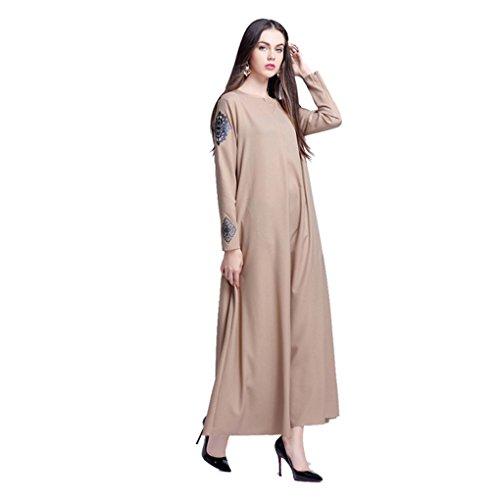 JYJM Frauen Islamische Reine Farbe Drucken Plus Größe Nahen Osten Langes Kleid Damen Abaya Dubai Muslimische Kleid Kleidung Arab Arabisch Indien Türkisch Casual Abendkleid Hochzeit Robe (L, Khaki) (Arabische Kostüm Plus Größe)