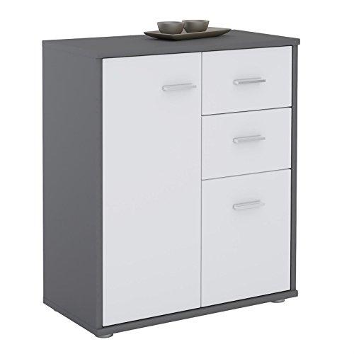 CARO-Möbel Kommode Locarno Highboard Bürokommode mit 2 Schubladen und 2 Türen in grau/weiß