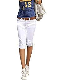 Jeans Skinny Femmes Pantalons Corsaires Slim Fit Denim Léger breal Couleurs  Unies avec Poches Boutons Pantalons 10d1156bd9a