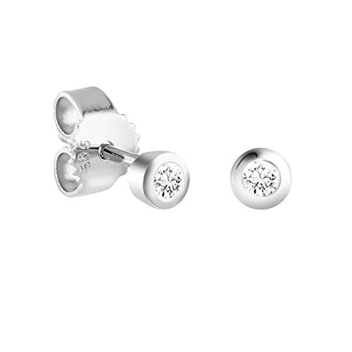 Diamond Line Diamant-Ohrstecker Weißgold 585 mit 2 Brillianten 0.05 ct. Lupenrein