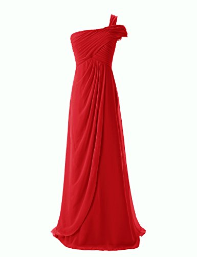 Dresstells, Robe de soirée Robe de cérémonie Robe de demoiselle d'honneur mousseline longue une épaule Rouge