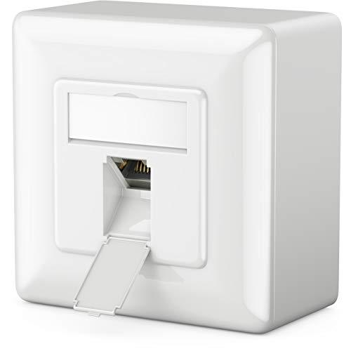 deleyCON 1x CAT6a Universal Netzwerkdose - 1x RJ45 Port - Geschirmt - Aufputz oder Unterputz - 10 Gigabit Ethernet Netzwerk - EIA/TIA 568A&B - Weiß