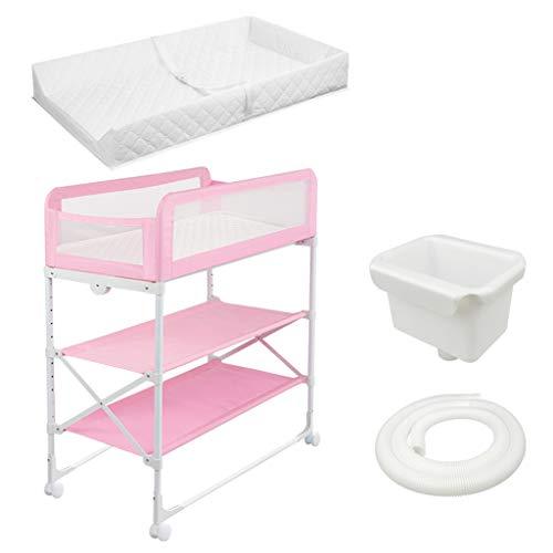 Klappbarer Wickeltisch für kleine Räume, Tragbarer Kindergarten Säuglingswindel Massagestation Kommode für Haushaltsreisen, Blau Rosa, 0-12 Monate alt