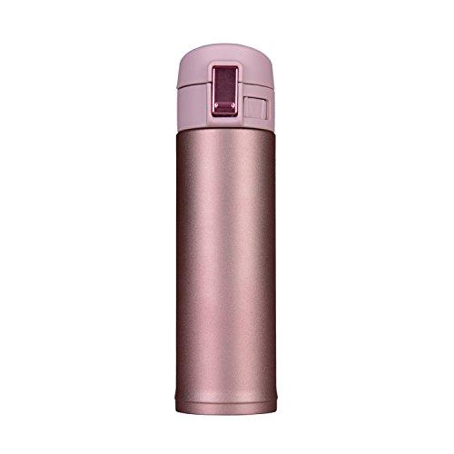 Helot Isolierbecher für Kaffee und Wasser, mit Vakuum-Wärmedämmung, 100% blickdicht, Edelstahl, Einhand-Bedienung, 500ml rose