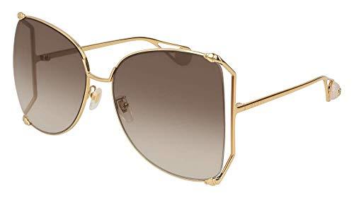 Sonnenbrillen Gucci GG0252S GOLD/BROWN SHADED Damenbrillen