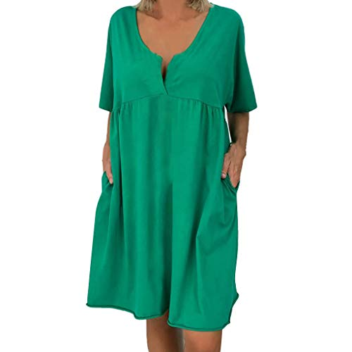 MCYs ❤ Damen Plue Größe Lose Solide Kurzarm V Ausschnitt Mini Länge Kleid -